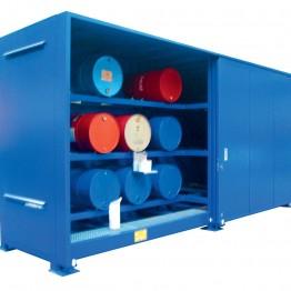Módulos de almacenamiento exterior para barriles en horizontal