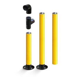 Barandillas y pilonas modulares con base flexible