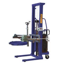 Elevador volteador de bidones semi-eléctrico