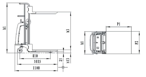 Dimensiones elevador posicionador para 400kg