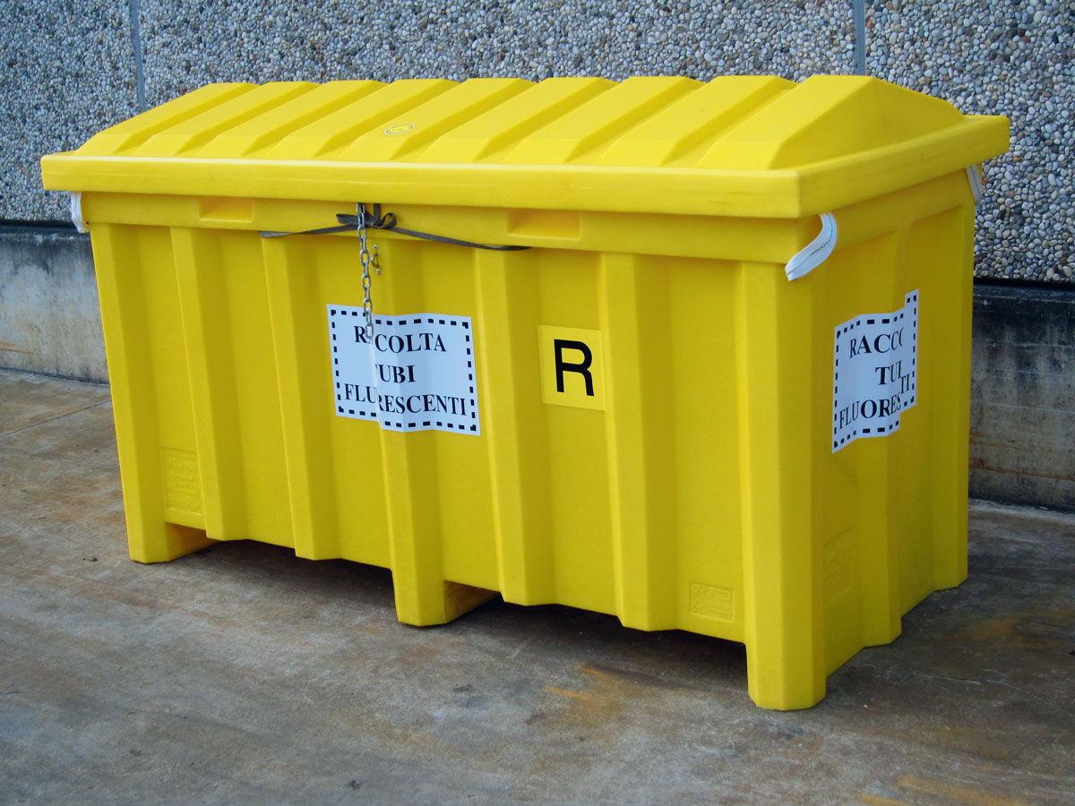 Contenedor plástico para la recogida selectiva de fluorescentes