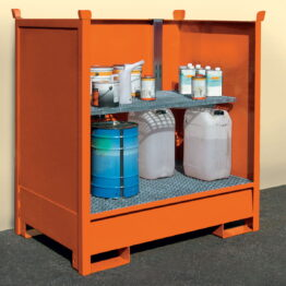 Cubetos de retención para barriles con estructura apilable con paredes de chapa