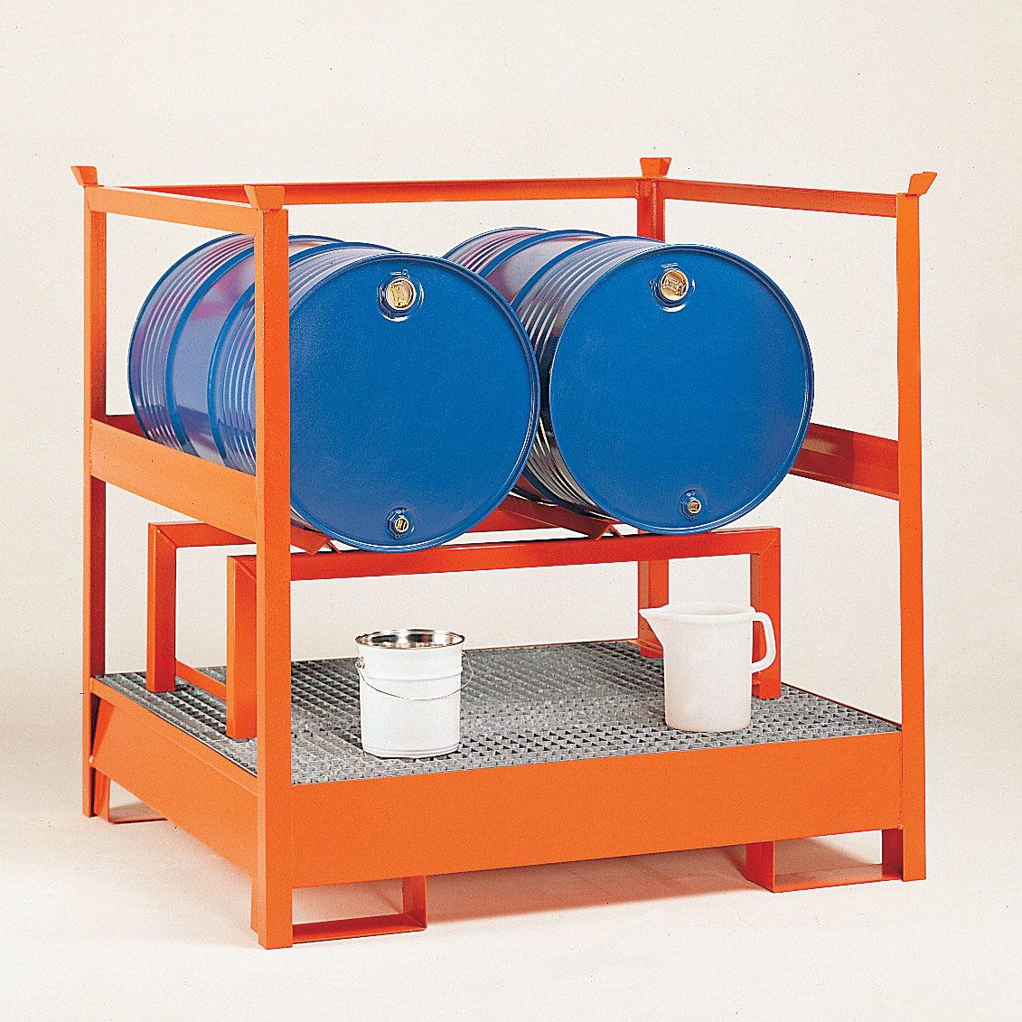Cubetos de retención para barriles con estructura apilable con paredes de malla