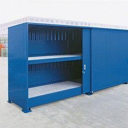 Módulos de almacenamiento exterior para barriles en vertical