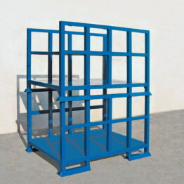 Palet metálico apilable con estantes desmontables
