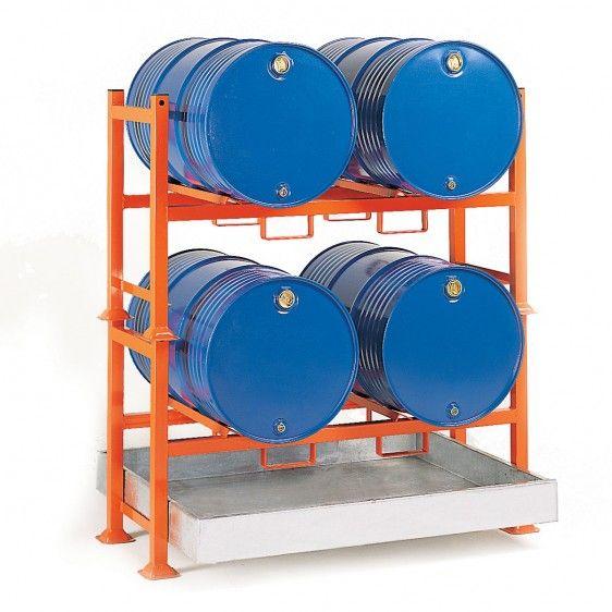 Soportes apilables para barriles con guías para cubeto