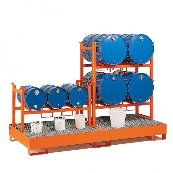 Soportes apilables para barriles para poner encima de cubeto con rejilla