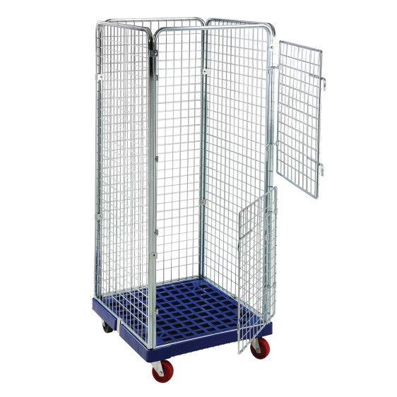 Roll contenedor con malla 50x50 y base plástica