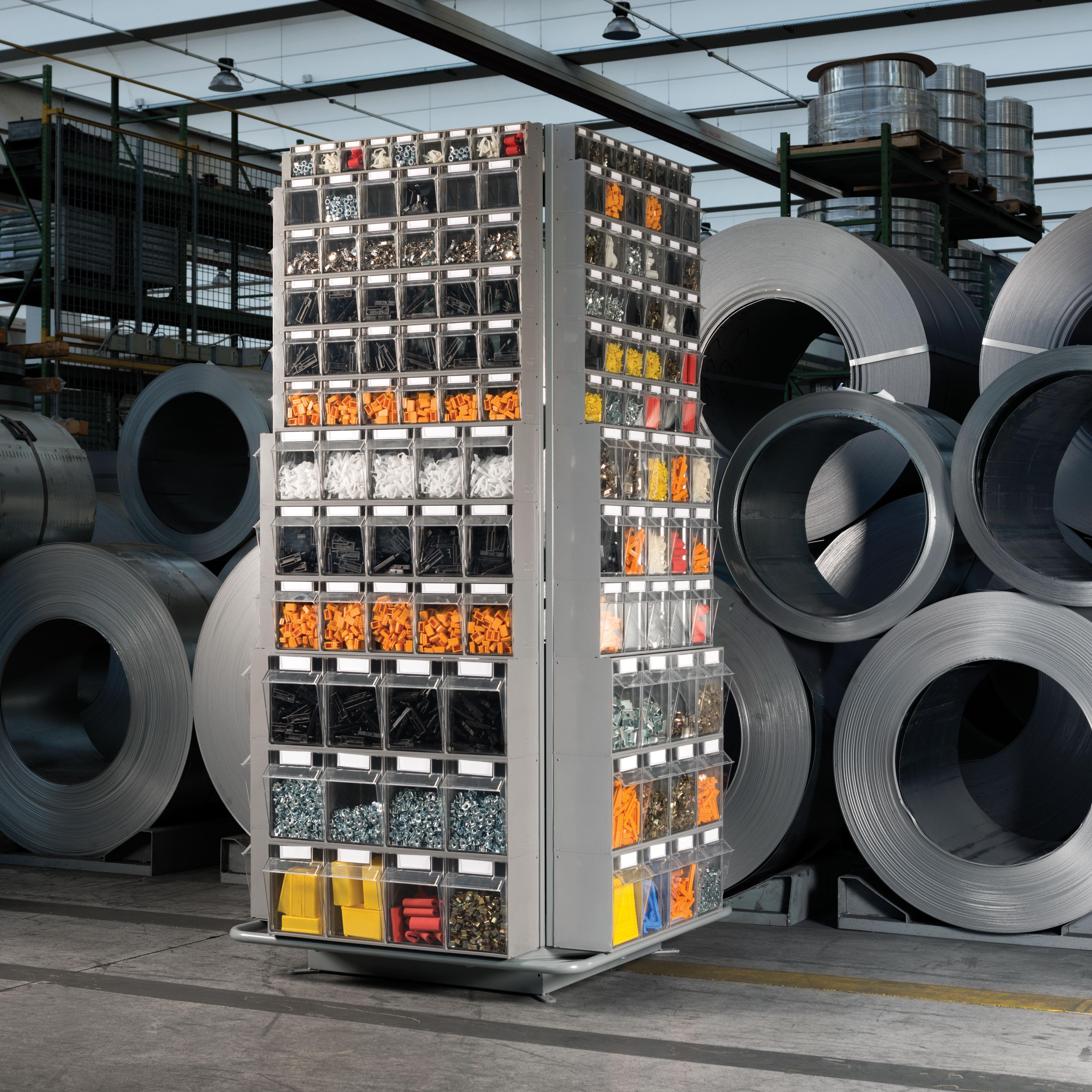 Expositor giratorio para contenedores basculantes