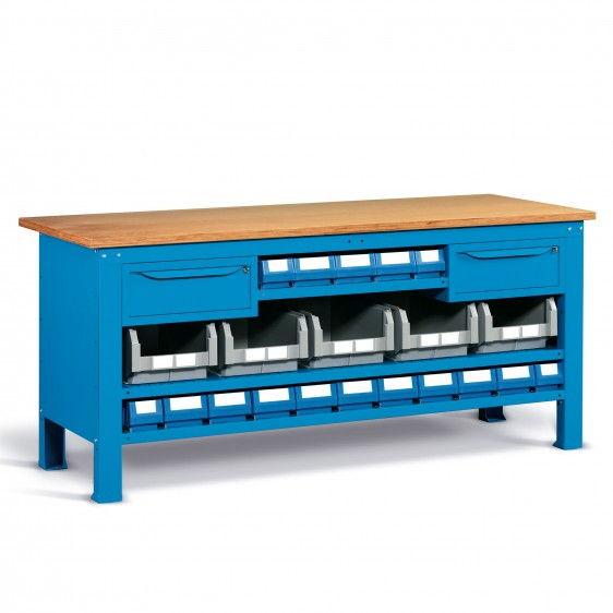 Bancos de trabajo compactos WORK STEEL con encimera de madera.