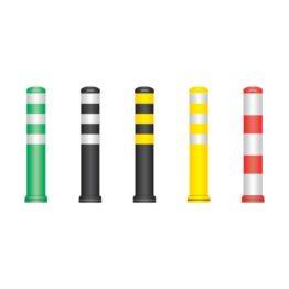 Pilonas flexibles con base desmontable para delimitación de carriles, zonas peatonales, vados...