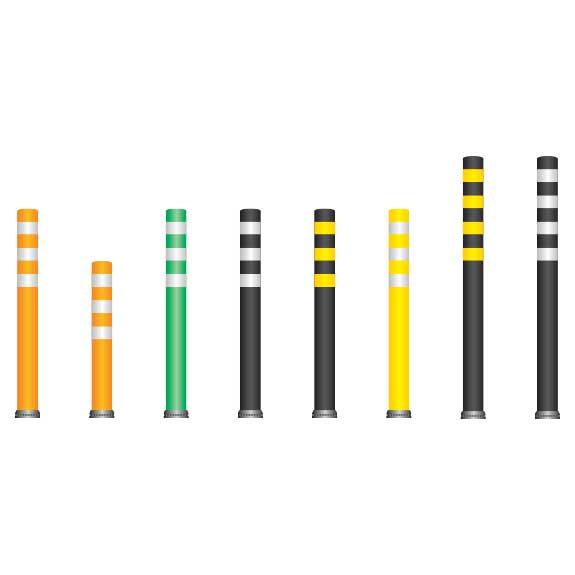 Pilonas flexibles con base fija para delimitación de carriles, zonas peatonales, vados, bifurcaciones...