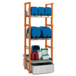 Soportes apilables con cubeto para el almacenamiento de bidones y pequeños recipientes