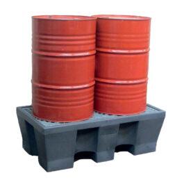 Cubetos de retención apilables y encajables en PE para bidones con rejilla en acero galvanizado