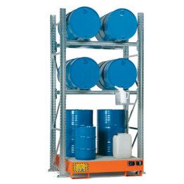 Estanterías para el almacenamiento interior de bidones de 60 lts y 200 lts.