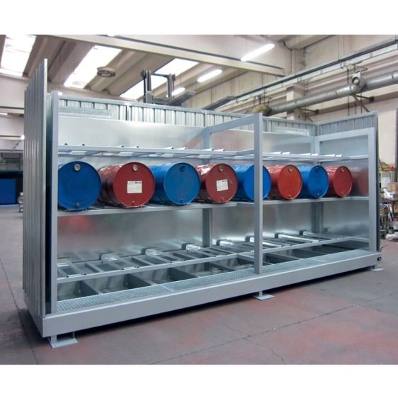 Depósitos de interior para el almacenamiento horizontal de bidones