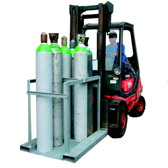 Palet metálico para transportar botellas de gas